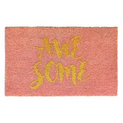 Pink Glitter Gold 18 in. x 30 in. Glitter Awesome Door Mat