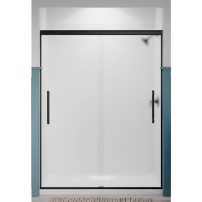 Pleat 59.625 in. x 79.0625 in. Frameless Sliding Shower Door in Matte Black with Frosted Glass