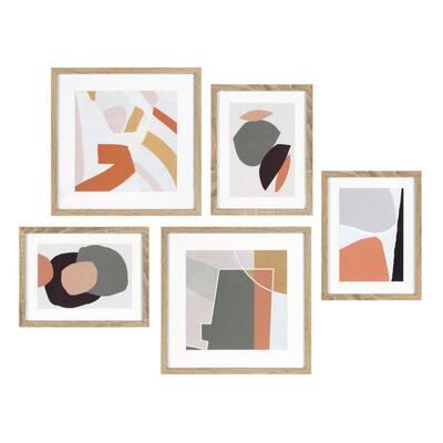 Mid-Century Modern Framed Wall Art Set 15 in. x 15 in.