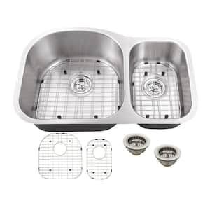 Undermount 18-Gauge Stainless Steel 31-1/2 in. 0-Hole 70/30 Double Bowl Kitchen Sink