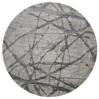 Kiba Warm Gray/Charcoal 9 ft. Round Abstract Polyester Area Rug
