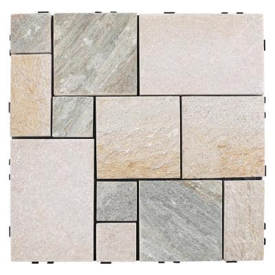 UltraShield 1 ft. x 1 ft. Granite Quick Deck Outdoor Tiles in Himalayan Mix (5 sq. ft. per Box)