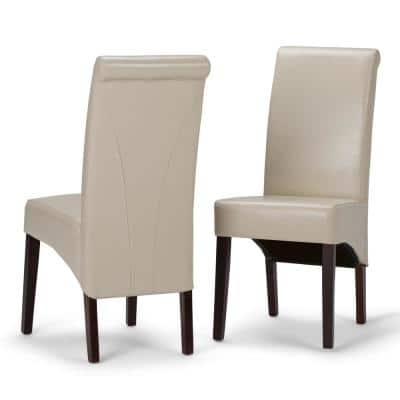 Avalon Transitional Deluxe Parson Dining Chair in Satin Cream Faux Leather (Set of 2)