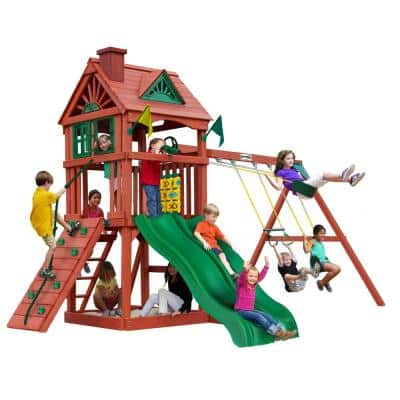 Double Down II Wooden Playset with 2 Wave Slides and Rock Wall