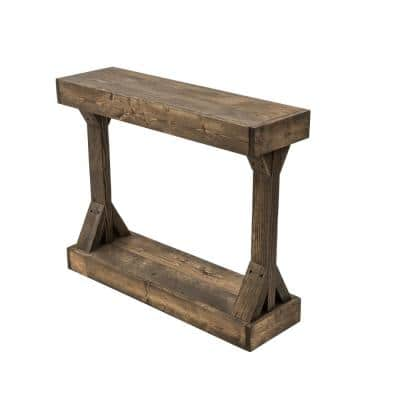 Barb 38 in. Dark Walnut Rectangle Wood Console Table with Storage