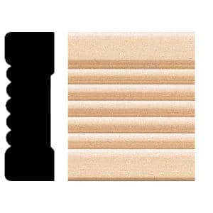 0.66 in. x 2.25 in. x 8 ft. Basswood Wood Fluted Casing Moulding