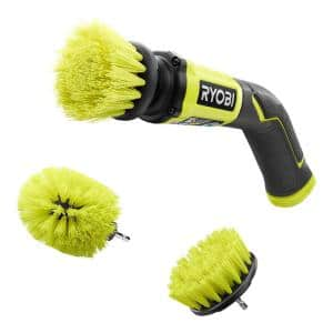 4V Cordless Compact Scrubber with Medium Bristle Brush Multi-Purpose Cleaning Kit (2-Piece)