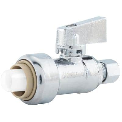 PlumBite 1/2 in. Push On x 1/4 in. O.D. Compression Chrome Plated Brass Quarter-Turn Straight Supply Stop Valve