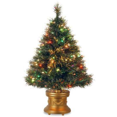 48 in. Fiber Optic Ice Fireworks Artificial Christmas Tree with Multi-Color LED Lights