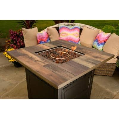 DualHeat 38 in. W x 30 in. H Outdoor Square Steel LP Gas Bronze Fire Pit Heater with Push Ignition HideAway Cover