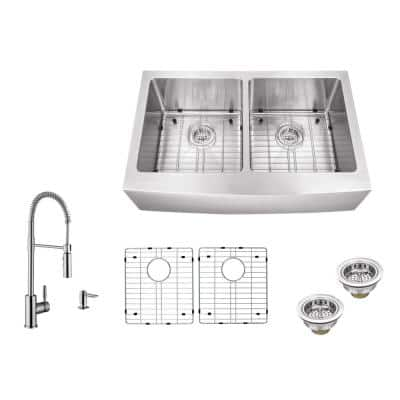 All-in-One Farmhouse Apron Front 16-Gauge Stainless Steel 33 in. 50/50 Double Bowl Kitchen Sink with Pull Down Faucet