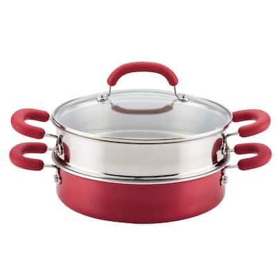 3 qt. Create Delicious Aluminum Nonstick Steam Set, Red Shimmer