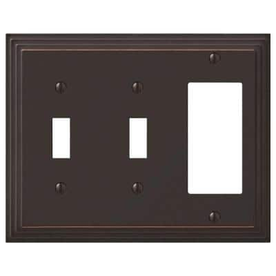 Tiered 3 Gang 2-Toggle and 1-Rocker Metal Wall Plate - Aged Bronze
