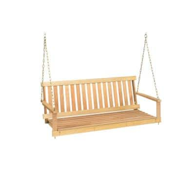 Outdoor 4 ft. Natural Hardwood Porch Swing with Chains