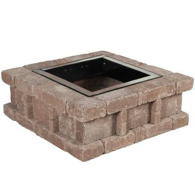 RumbleStone 38.5 in. x 14 in. Square Concrete Fire Pit Kit No. 2 in Cafe