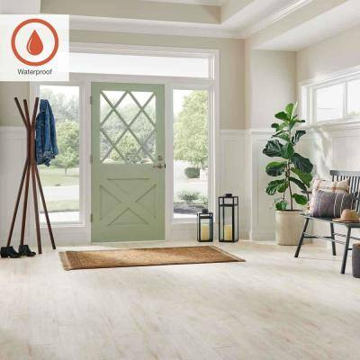 Outlast+ 6.14 in. W  White Whisper Maple Waterproof Laminate Wood Flooring (16.12 sq. ft./case)