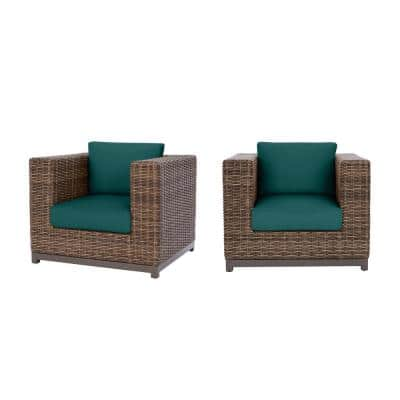 Fernlake Taupe Wicker Outdoor Patio Stationary Lounge Chair with CushionGuard Malachite Green Cushions (2-Pack)