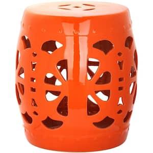Stencil Blossom Orange Ceramic Garden Stool