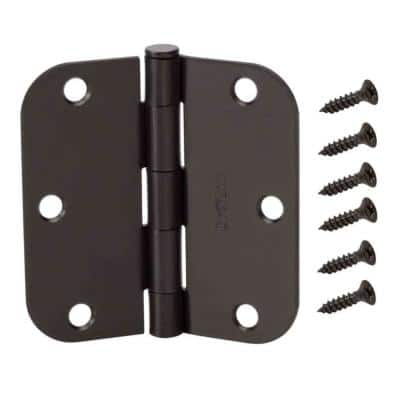 3-1/2 in. and 5/8 in. Radius Matte Black Smooth Action Hinge (3-Pack)