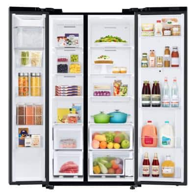 27.3 cu. ft. Smart Side-by-Side Refrigerator with Family Hub in Fingerprint Resistant Black Stainless Steel