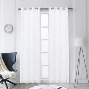 Tess 63 in.L x 52 in. W Sheer Polyester Curtain in White
