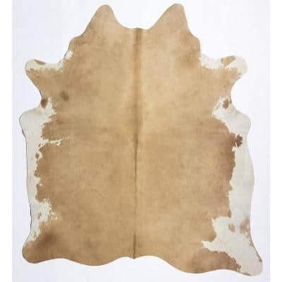 Hand Curated Cowhide Whitish Beige 6 ft. x 8 ft. Area Rug