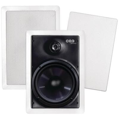 150W 6.5 in. Weather-Resistant In-Wall Speakers with Pivoting Tweeters- Metal and Cloth Grills