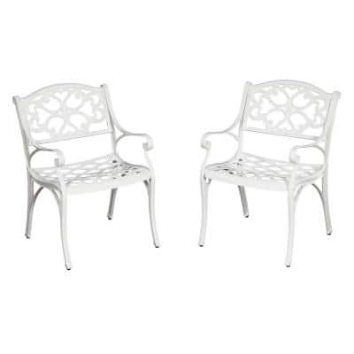Sanibel White Stationary Cast Aluminum Outdoor Dining Arm Chair (2-Pack)