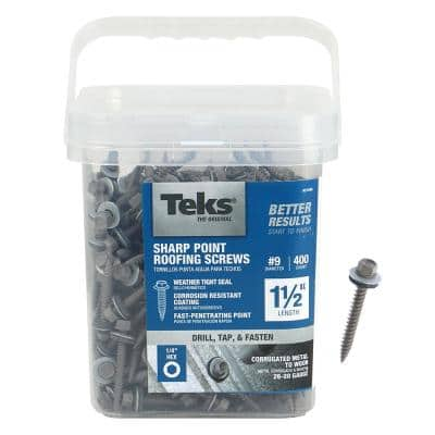 #9 x 1-1/2 in. External Hex Drive Washer Head Roofing Screws (400-Pack)