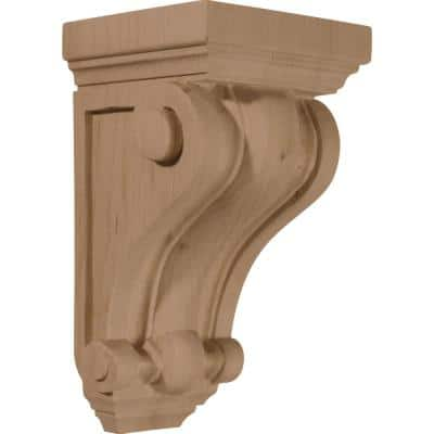 4 in. x 4 in. x 7-1/2 in. Unfinished Wood Cherry Devon Traditional Wood Corbel