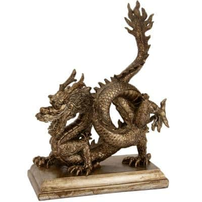 Oriental Furniture 11 in. Chinese Dragon Decorative Statue