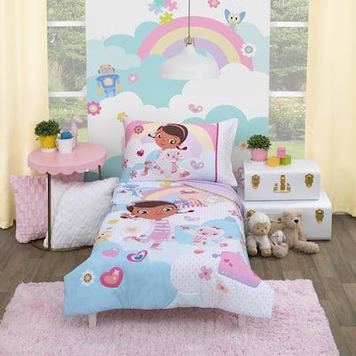 Doc McStuffins 4-Piece Toddler Crib Bedding Set (Comforter, Fitted Bottom Sheet, Flat Top Sheet, and Pillowcase)