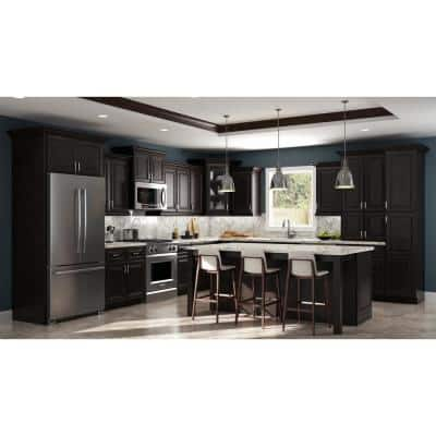 Raised Panel Dark Brown Kitchen Cabinets The Home Depot