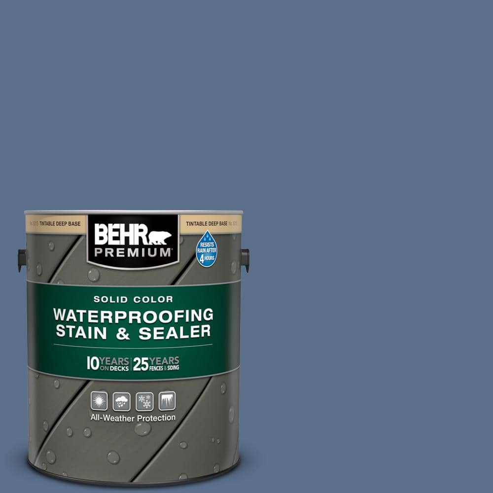 Behr Premium 1 Gal 600f 6 Atlantic Blue Solid Color Waterproofing Exterior Wood Stain And Sealer 501301 The Home Depot