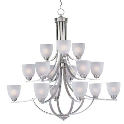 Axis 15-Light Satin Nickel Chandelier with Frosted Shade
