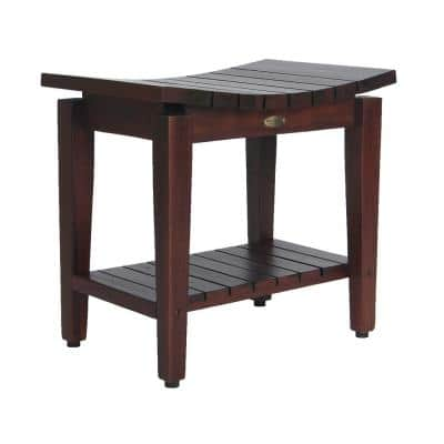 Sojourn 20 in. Contemporary Teak Shower Bench with Shelf
