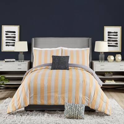 5-Piece Yellow Willow Stripe Cotton King Comforter Set