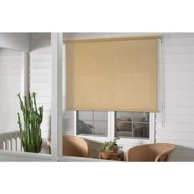 48 ft. x 72 ft. Beige Cordless True to Size Light Filtering Exterior Roller Shade with UV Protection Fabric