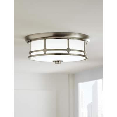 Portland Court 14 in. 1-Light Brushed Nickel LED Flush Mount