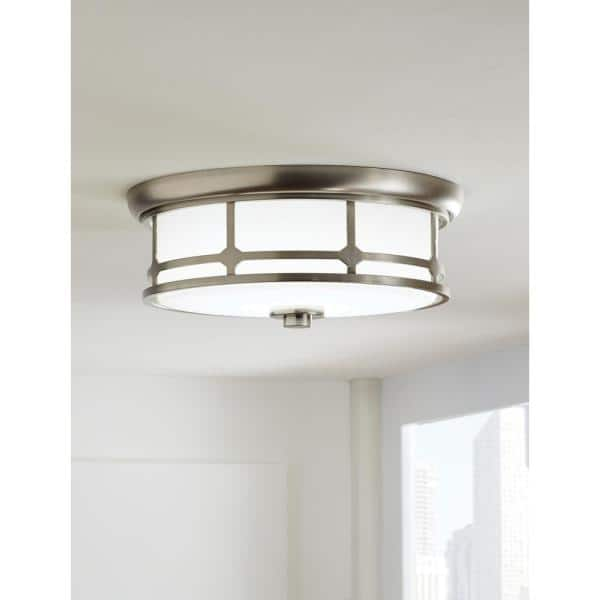 Home Decorators Collection Portland Court 14 In Brushed Nickel Led Flush Mount Ceiling Light 23952 The Home Depot