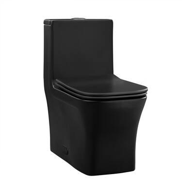 Concorde 1-Piece 0.8 GPF/1.28 GPF Dual Flush Square Toilet in Matte Black Seat Included