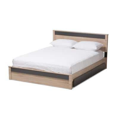 Jamie Light Brown Wood Queen Storage Bed