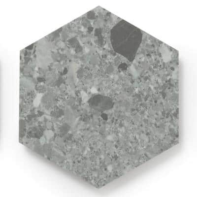 MosaiCore Gray Quartz Hex 8.2 in. x 10.375 in. Glue Down Luxury Vinyl Tile (12.25 sq.ft./Case)