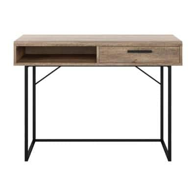 Fort Worth 43 in. Brown Wood Grain Finish Writing Desk with Drawer and Open Storage