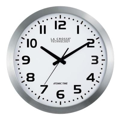 16 in. White Dial Brushed Silver Atomic Analog Wall Clock