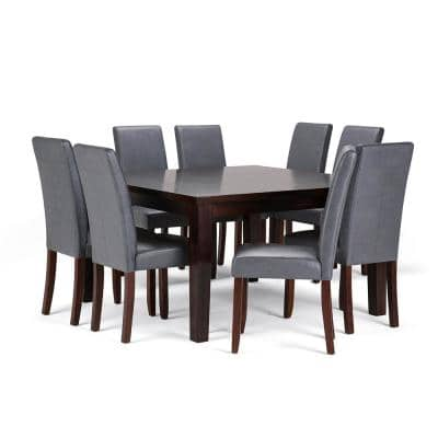 Acadian 9-Piece Dining Set with 8 Upholstered Parson Chairs in Stone Grey Faux Leather and 54 in. Wide Table