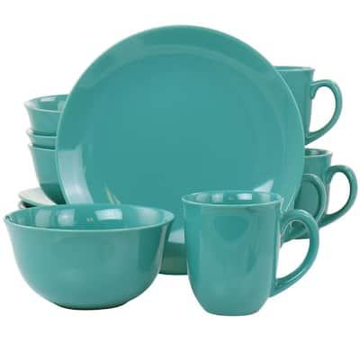 Mercer 12-Piece Teal Green Round Stoneware Dinnerware Set