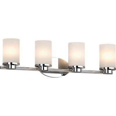 Sharyn 4-Light 8.25 in. Chrome Indoor Bathroom Vanity Wall Sconce or Wall Mount with Frosted Glass Cylinder Shades