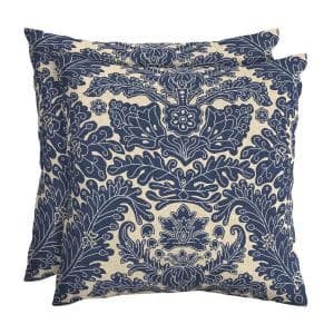 Chelsea Damask Square Outdoor Throw Pillow (2-Pack)