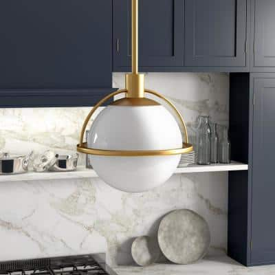 Cieonna 1-Light Brass Pendant with White Milk Glass Shade